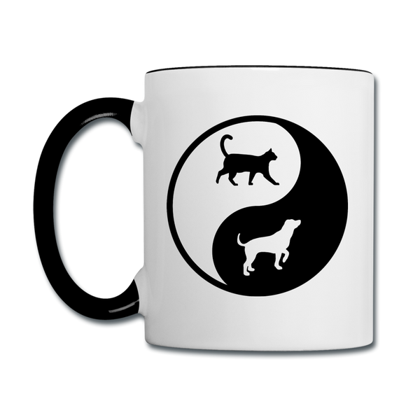 Yin And Yang - Cat And Dog - Contrast Coffee Mug - white/black