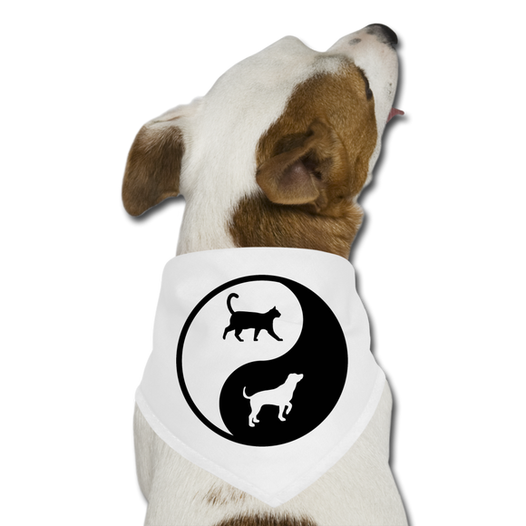 Yin And Yang - Cat And Dog - Pet Bandana - white