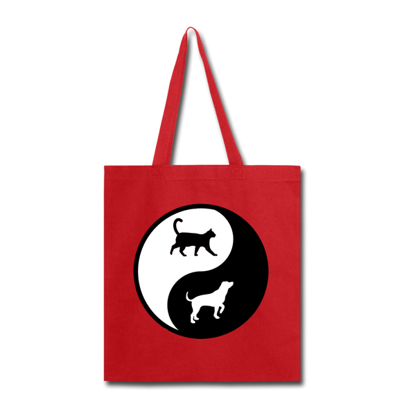 Yin And Yang - Cat And Dog - Tote Bag - red