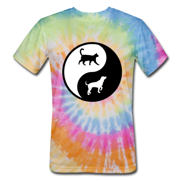 Yin And Yang - Cat And Dog - Unisex Tie Dye T-Shirt - rainbow