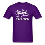 Be Happy And Go Flying - White - Unisex Classic T-Shirt - purple