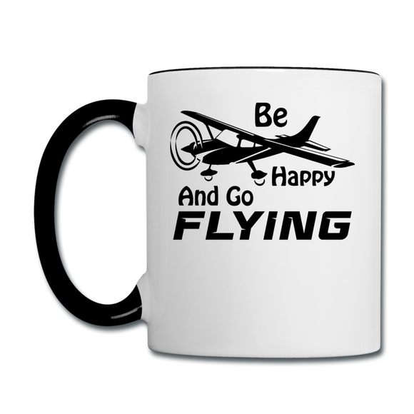 Be Happy And Go Flying - Black - Contrast Coffee Mug - white/black