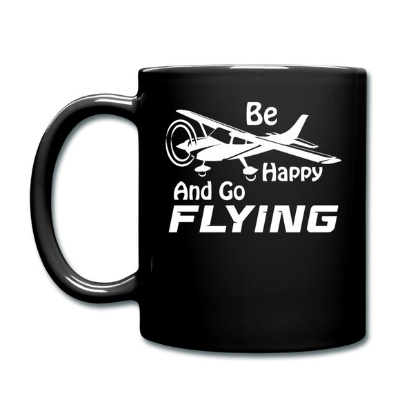 Be Happy And Go Flying - White - Full Color Mug - black
