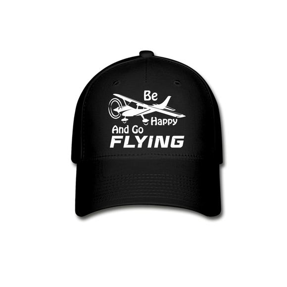 Be Happy And Go Flying - White - Baseball Cap - black
