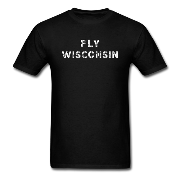 Fly Wisconsin - Words - Stencil - Unisex Classic T-Shirt - black