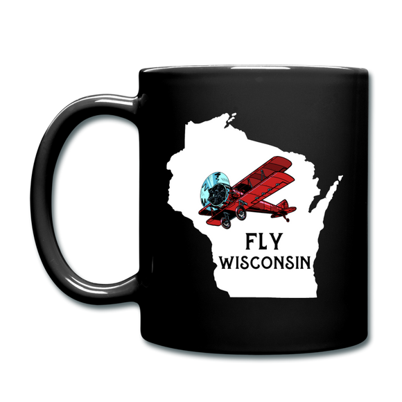 Fly Wisconsin - State - Words - White - Biplane - Full Color Mug - black