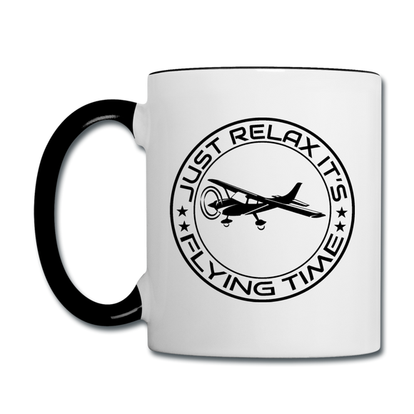 Just Relax - Flying Time - Black - Contrast Coffee Mug - white/black