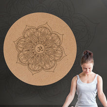 Load image into Gallery viewer, Natural Cork Yoga Mat 60 cm Dia  with a non slip backing