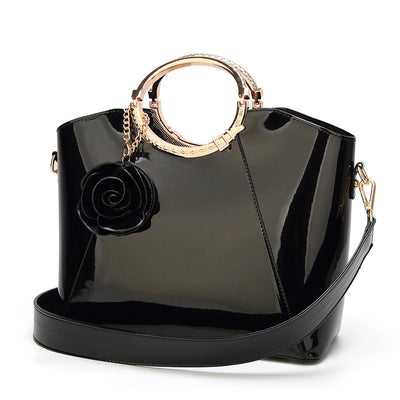 Rose patent leather wild handbag