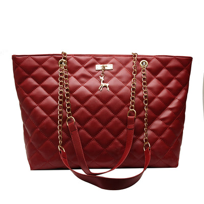 Large capacity diamond chain women bag