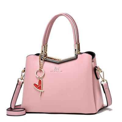 SUROTAMA Heart Pendant Leather Tote