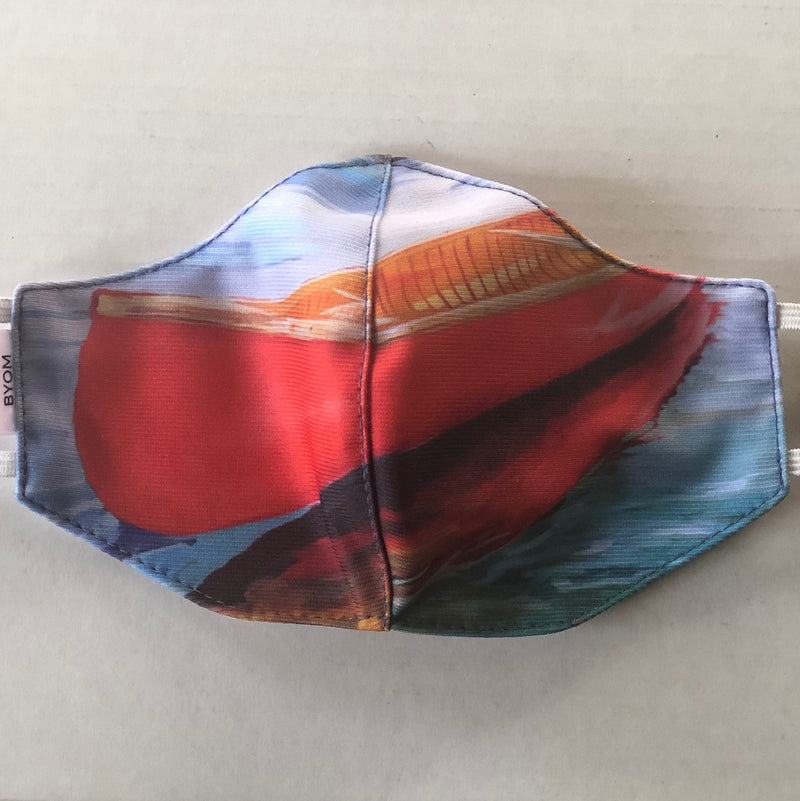 BIG RED CANOE FINE ART FASHION GRAPHIC MASK - BYOM.CA | BRING YOUR OWN MASK
