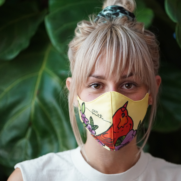 JUST BREATHE FINE ART FASHION GRAPHIC MASK - BYOM.CA | BRING YOUR OWN MASK