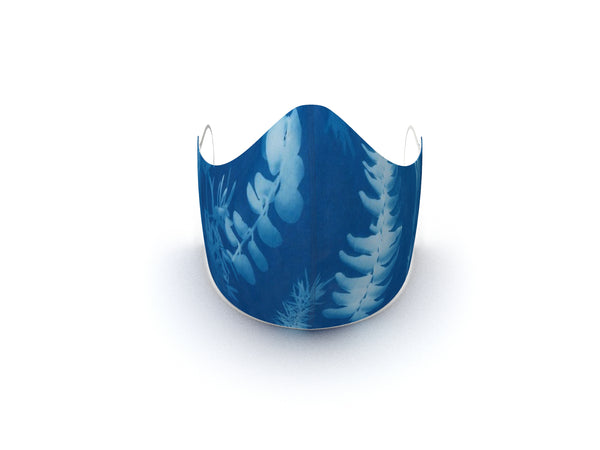 BLUE LEAF FINE ART FASHION GRAPHIC MASK - 3 LAYER