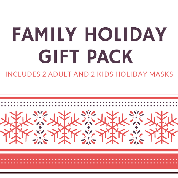 FAMILY HOLIDAY FASHION GRAPHIC MASK GIFT PACK - 2 ADULT, 2 KIDS - BYOM.CA | BRING YOUR OWN MASK