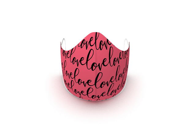 LOVE SCRIPT PINK FASHION GRAPHIC MASK - BYOM.CA | BRING YOUR OWN MASK