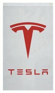 Tesla White Background Car Flag
