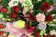 Load image into Gallery viewer, Norma's Red and Pink Standing Spray Arrangement