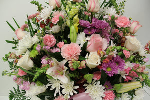 Pink and White Funeral Basket