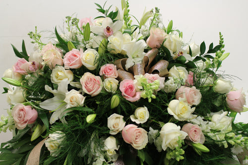 Norma's White and Pink Casket Spray Arrangement