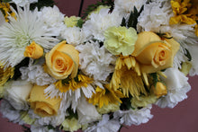 Load image into Gallery viewer, Norma's Yellow and White Open Heart Standing Arrangement
