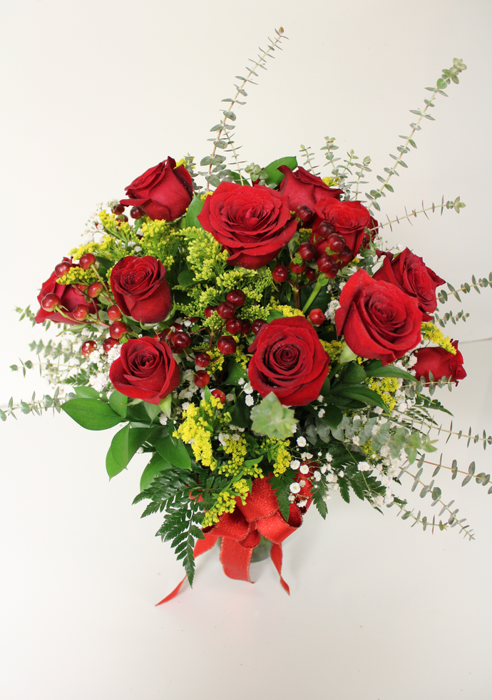 Norma's Red Rose Vase Arrangment