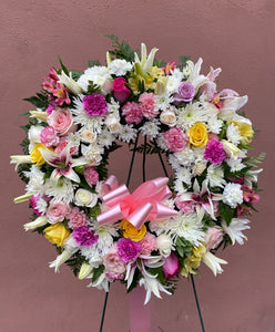 Pastel Wreath Standing Arrangement