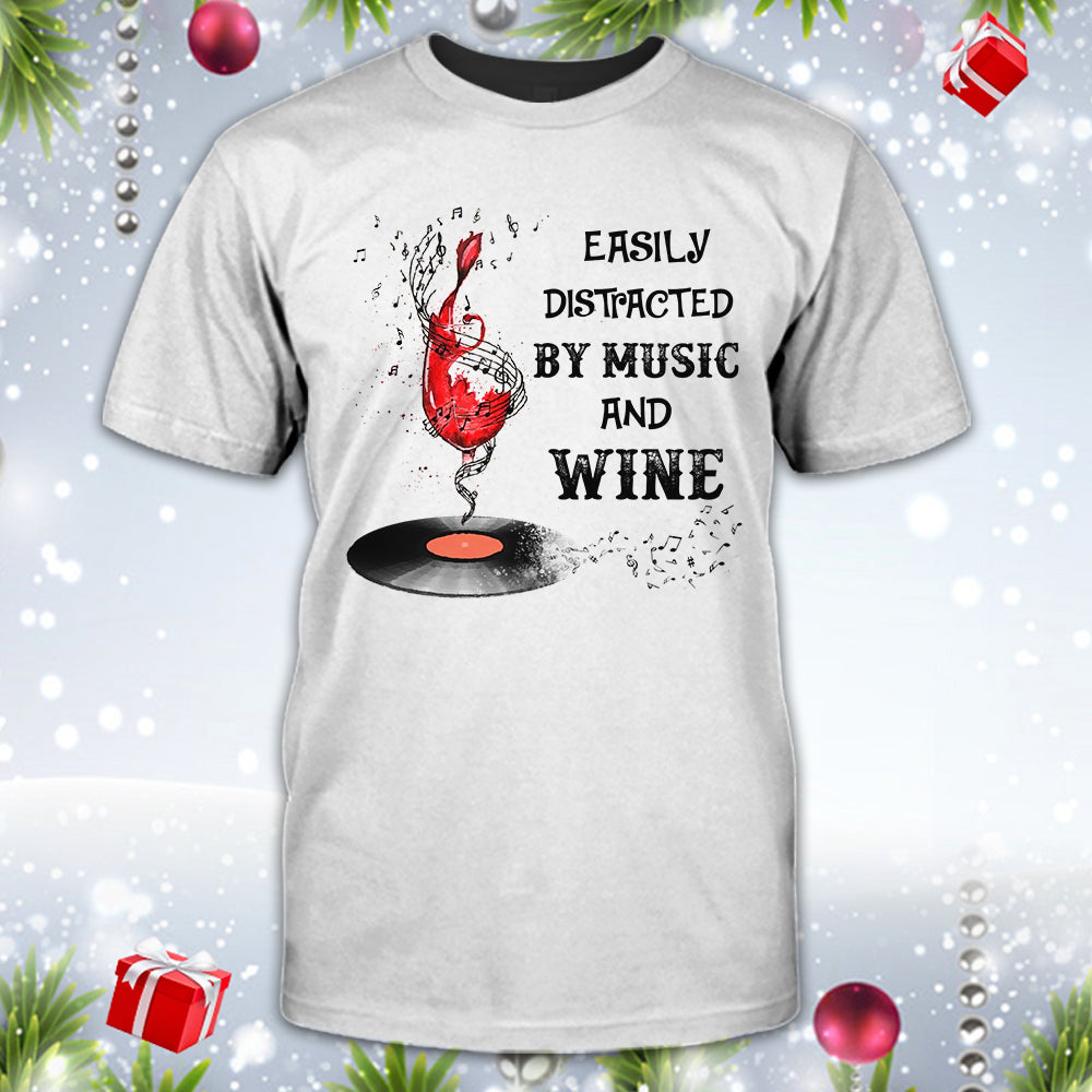 Distracted By Music Wine Shirt