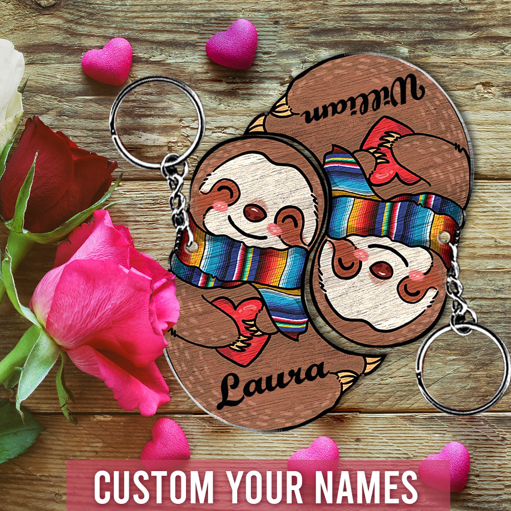 6M Personalized Keychain Sloth Couple