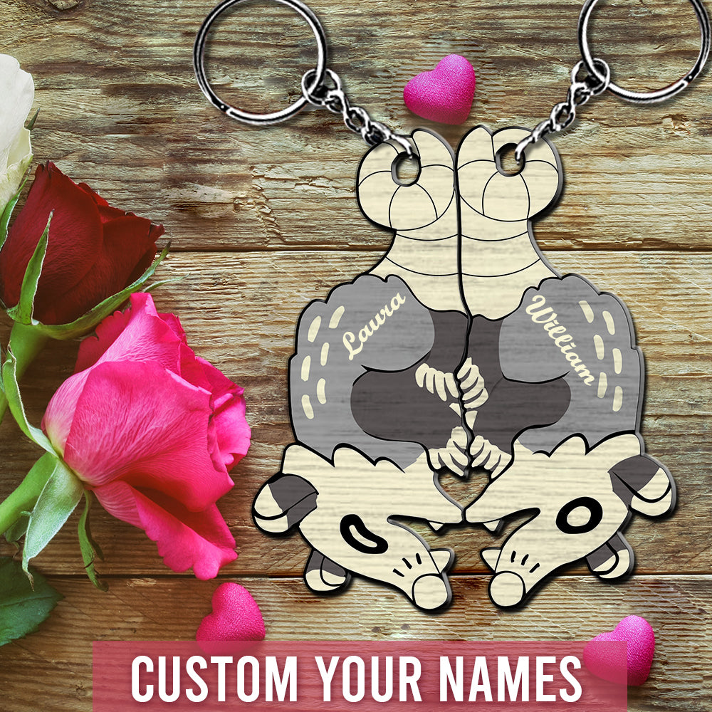 6M Personalized Keychain Possum Couple
