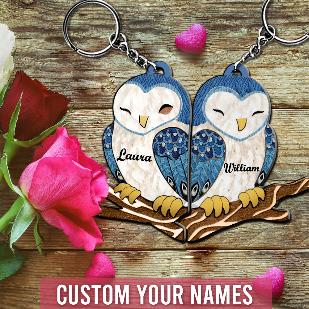6M Personalized Keychain Owl Couple