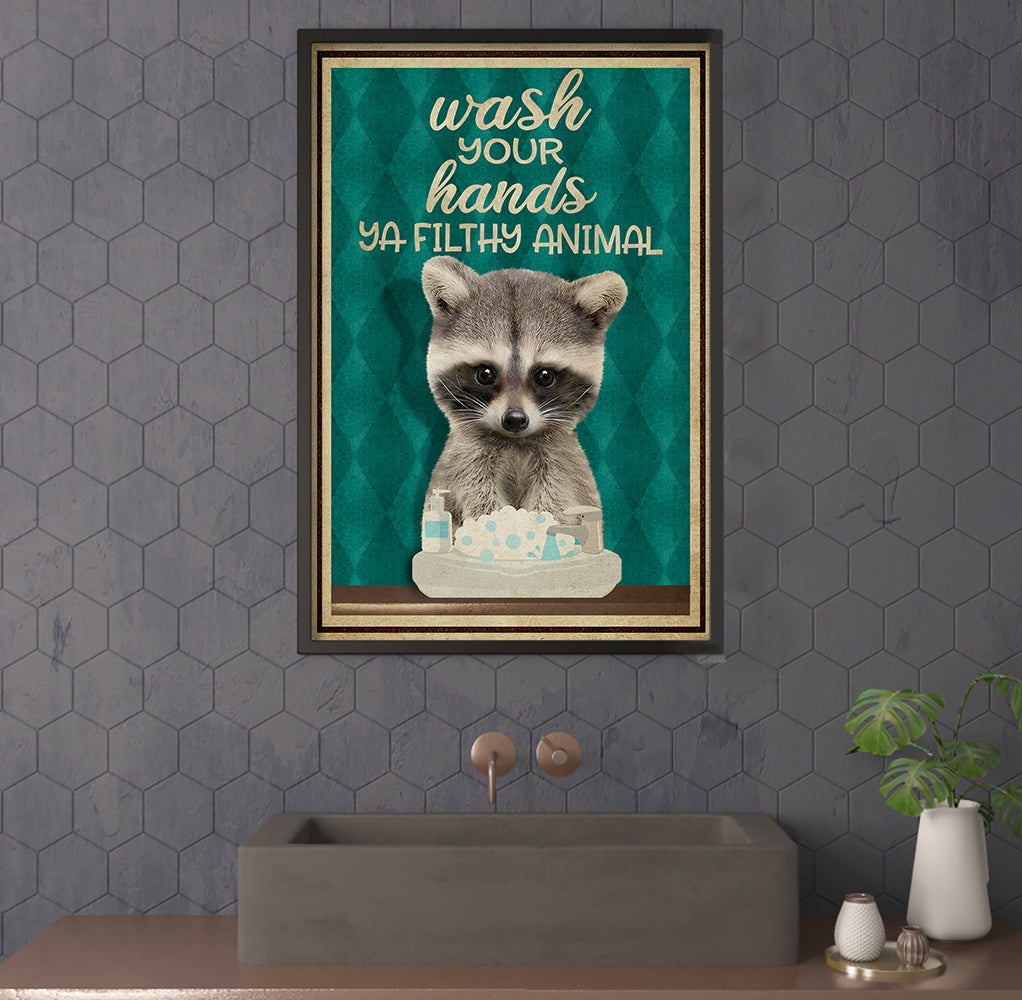 Wash Your Hands Raccoon Poster