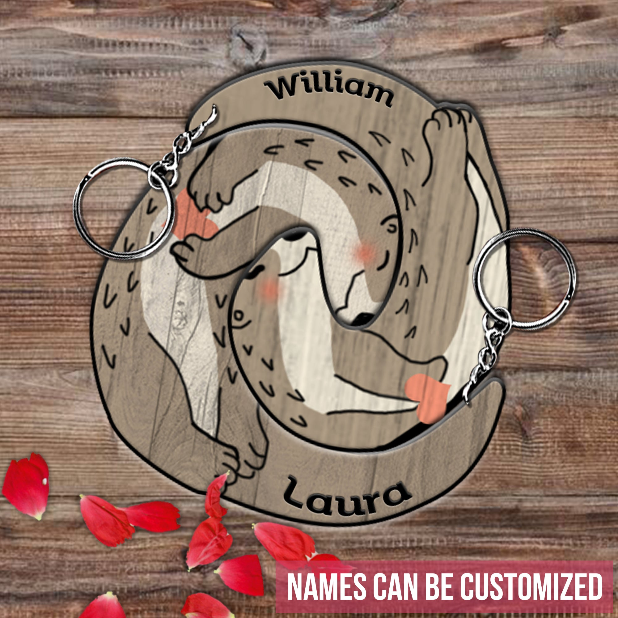 6M Personalized Keychain Otter Couple