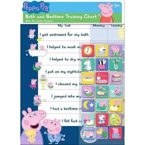 Peppa Pig Character Bath & Bedtime Reward Chart with 56 Reusable Stickers