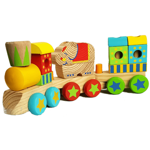 Wooden circus elephant train set