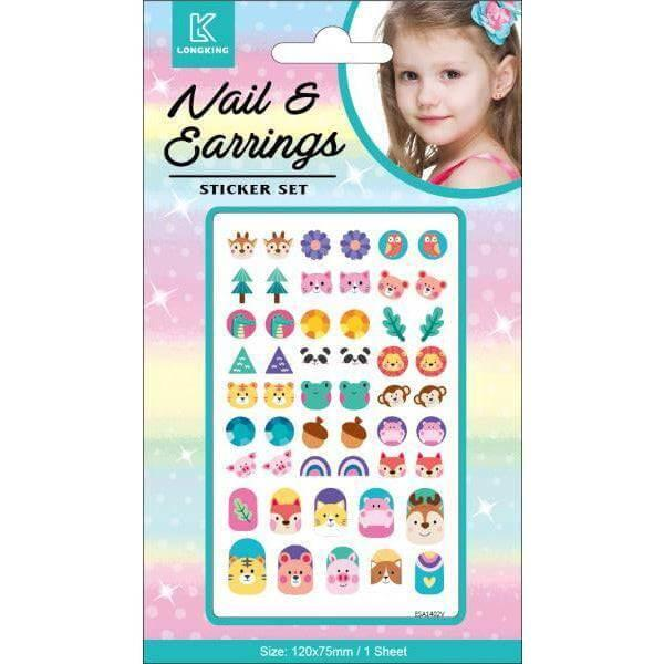 Stick on nail and earring set