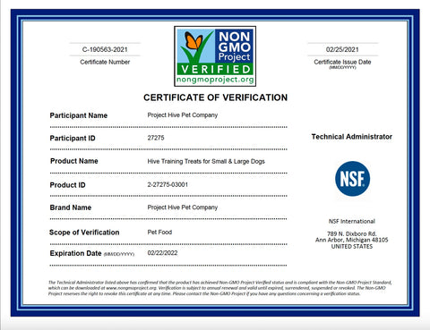 Official Non-GMO Project Verification for Training Treats