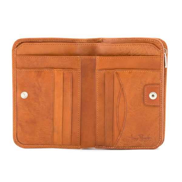 Italian Leather Zip Around Flap Purse By Tony Perotti