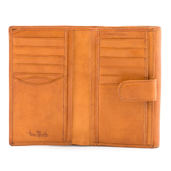 Italian Leather Flap Over Purse With Tab By Tony Perotti
