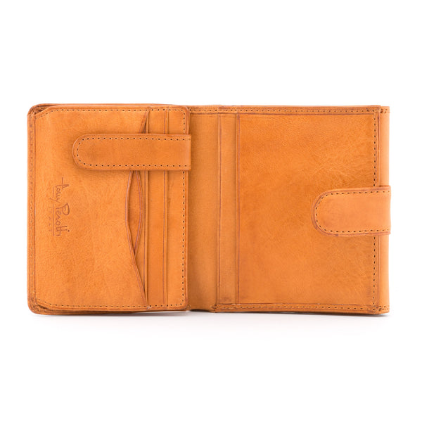 Tan Italian Leather Flap Over Purse By Tony Perotti