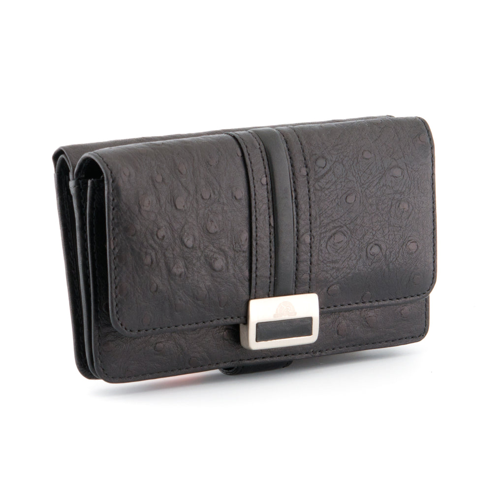 Italian Leather Tab Purse With Ostrich Detail By Tony Perotti