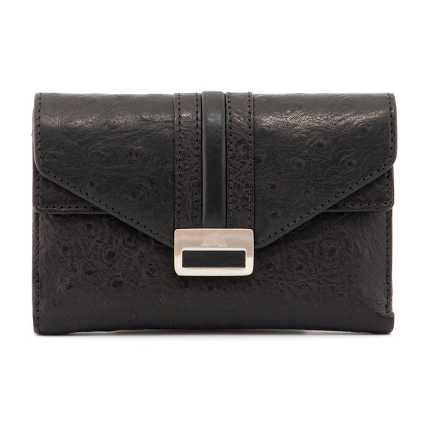 Italian Leather Double Flap Purse With Ostrich Detail By Tony Perotti