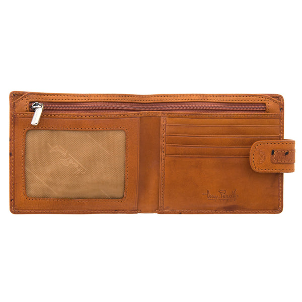 Tony Perotti Two Fold Leather Classic Wallet with Ostrich Detail
