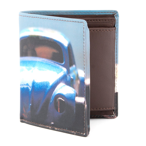 2035 19 -Two Fold Leather Toy Car Print Notecase
