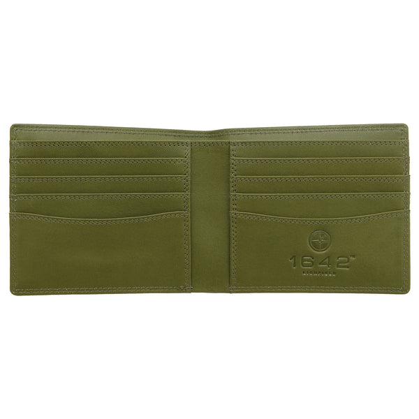 2039 18 16 - Brown / Olive Two Fold Leather Wallet