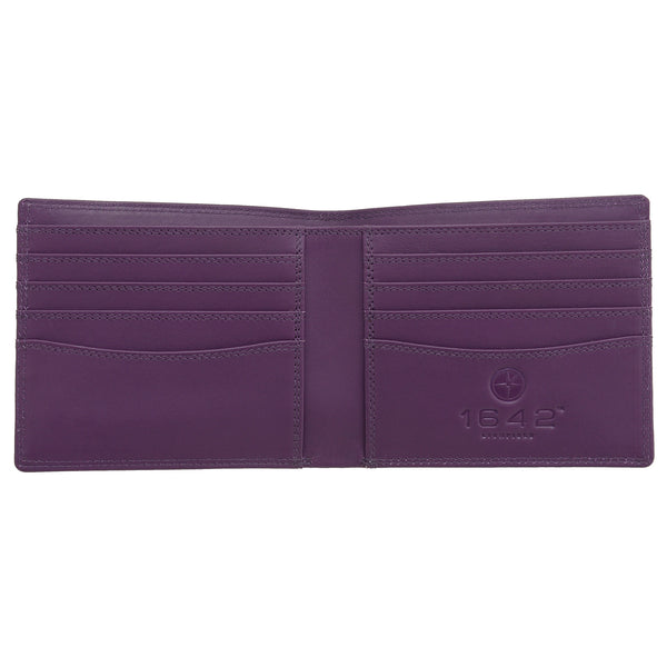 2039 18 55 - Black / Purple Two Fold Leather Wallet