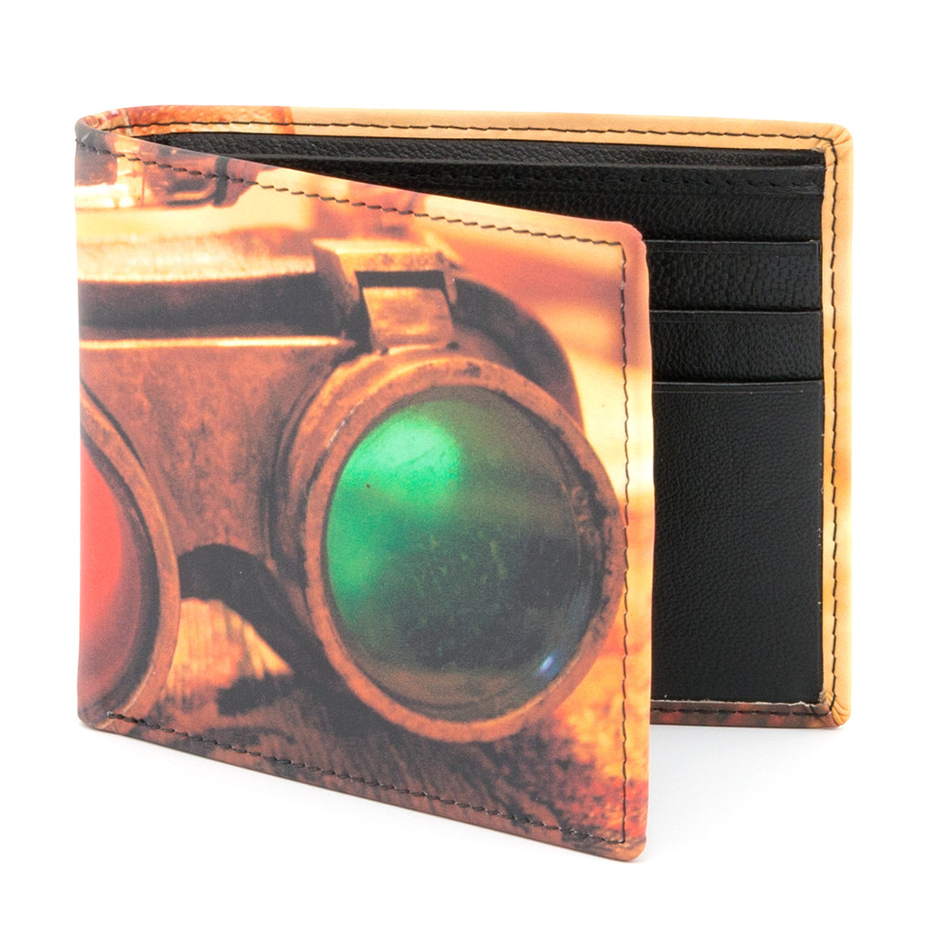 2039 19 - Two Fold Leather Goggles Print Wallet