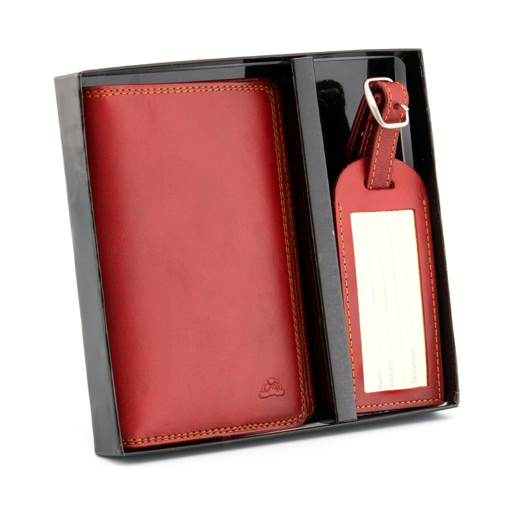 Italian Leather Passport & Luggage Tag Set By Tony Perotti