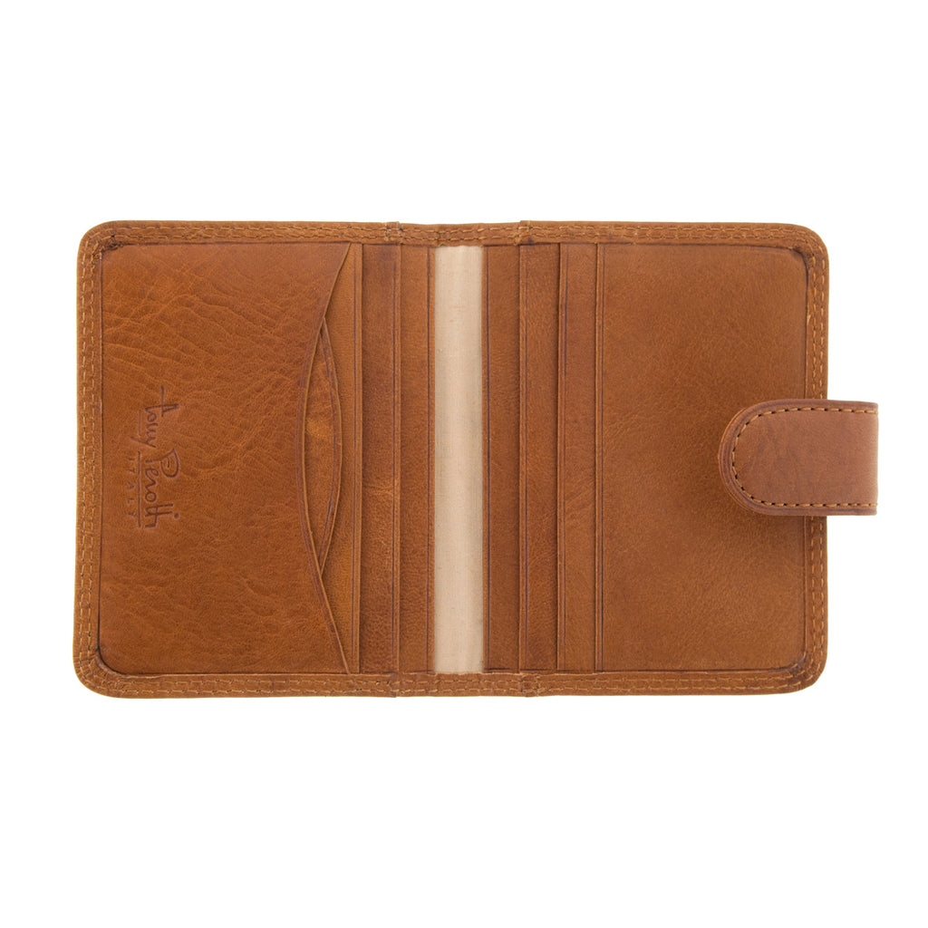 Italian Leather Card Holder With Tab By Tony Perotti