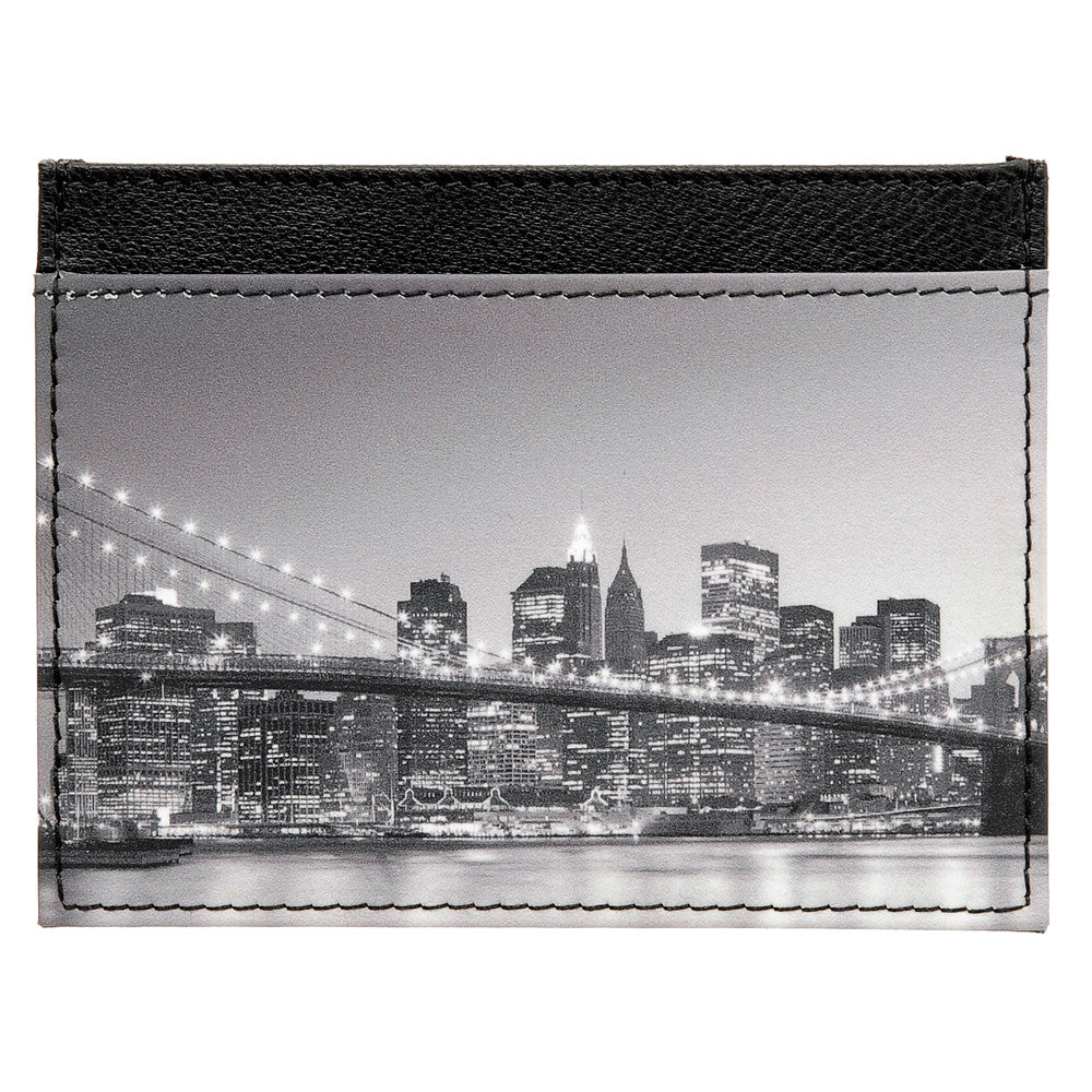 5028 19 - Slim Leather Credit Card Holder with New York Print